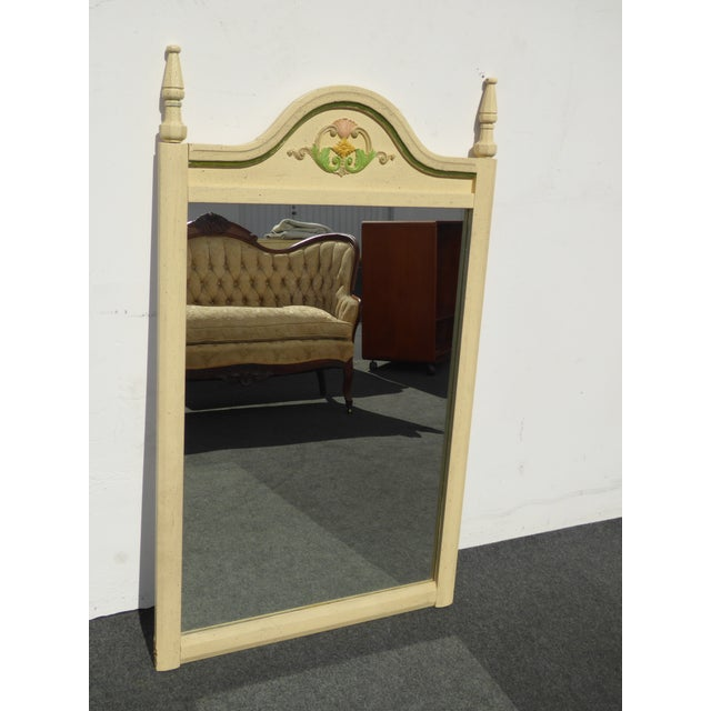 French Country Off White Floral Crest Wall Mirror - Image 10 of 11