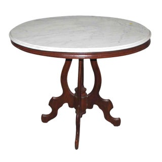 Queen Anne Marble Top Carved Walnut Base Table