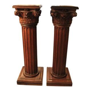 Early 20th Century Oak Pedestals - Pair