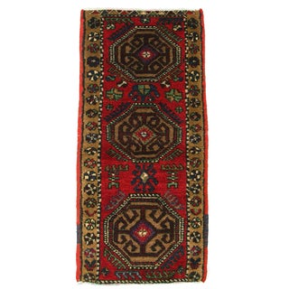 "Vintage Red Kurdish Carpet - 1'9"" x 3'8"""