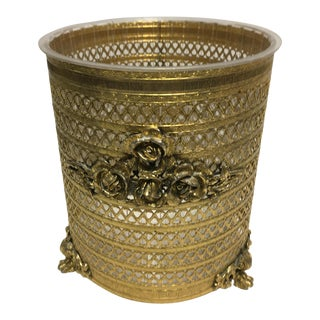 Hollywood Regency Goldtone Rose Waste Basket