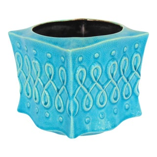 Vintage Red Wing Turquoise Planter