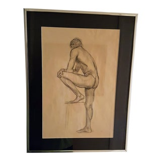 1967 Mixed Media Male Nude Sketch