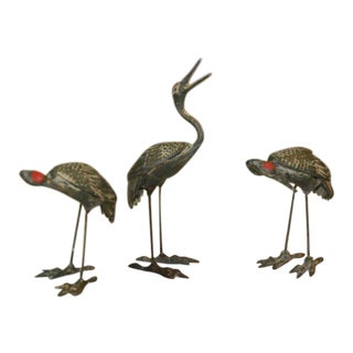 Bronze Heron Figurines - Set of 3