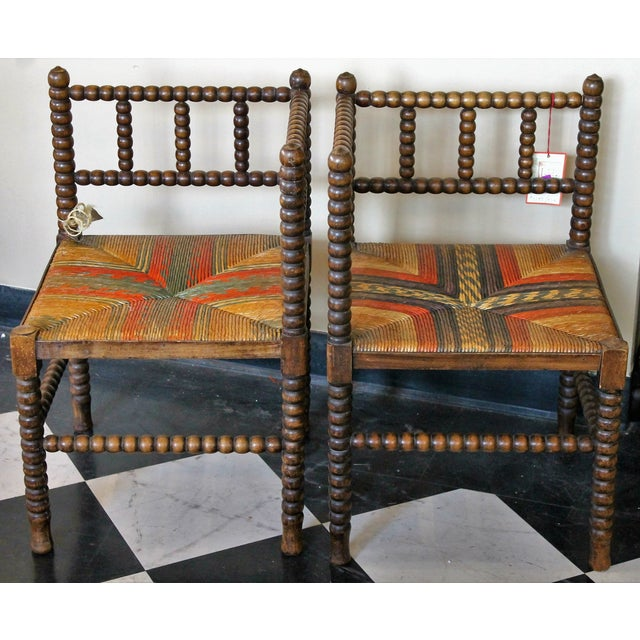 Antique French Corner Chairs - A Pair - Image 3 of 7