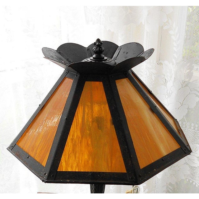 Antique Pittsburgh Lamp With Eight Panel Shade - Image 2 of 9