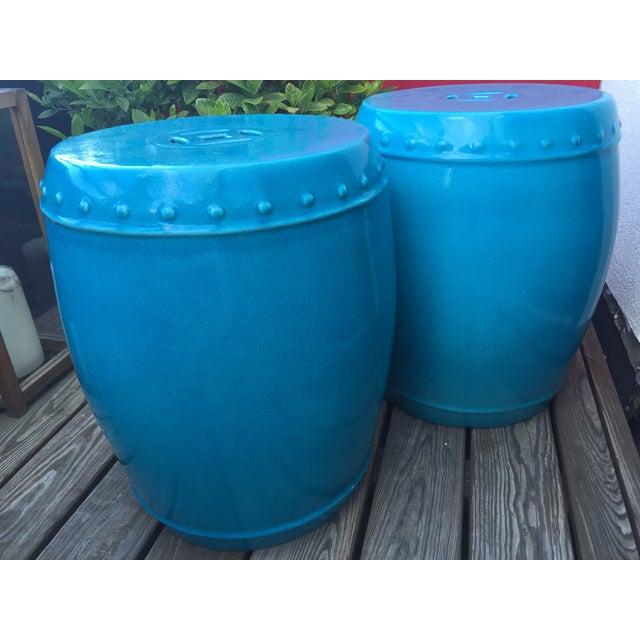 Image of Aqua Chinoiserie Ceramic Garden Tables - A Pair