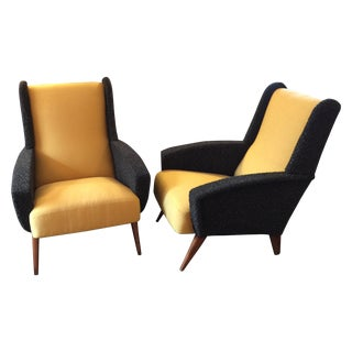 Italian Modern Upholstered Loungers - A Pair