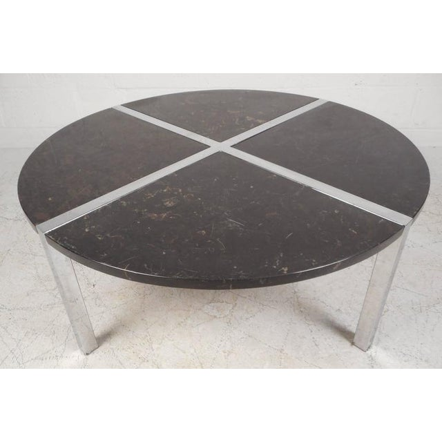 Mid Century Modern Marble Table: Mid-Century Modern Chrome And Marble Top Coffee Table