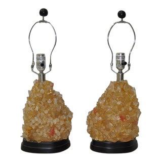 Vintage Rock Crystal Lamps - A Pair