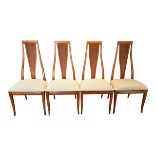 Mid-Century Modern High Caned Back Dining Chairs - Set of 4