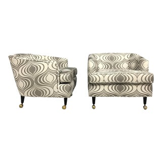 Milo Baughman Style Barrel Back Lounge Chairs - a Pair