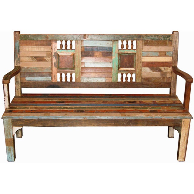 Recycled Wood Bench - Image 2 of 6