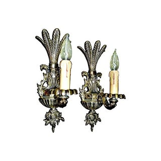 Egyptian Palm Motif Brass Sconces - A Pair