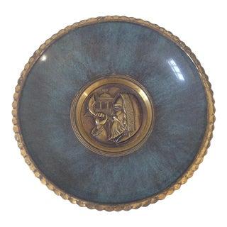 Blue Enamel & Brass Wall Plate