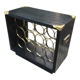 Mid-Century Modern Campaign Brass Accented Wine Rack