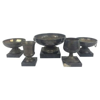 English Trophies & Marble Bases - Set of 5