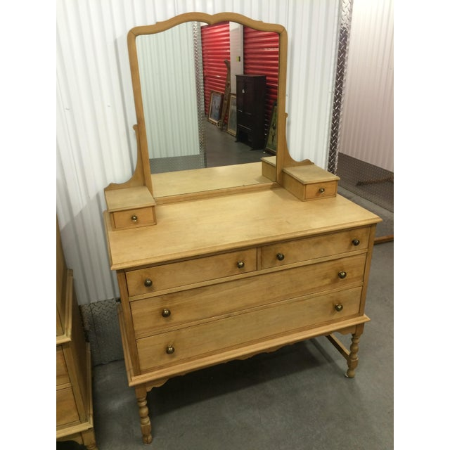 1940's Solid Wood Dresser with Mirror - Image 4 of 9