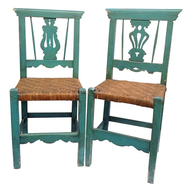Handmade Teal & Rush Seat Mexican Chairs - A Pair - Image 1 of 3