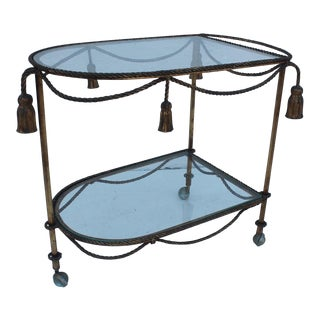 Italian Hollywood Regency Gilt Metal Bar Cart