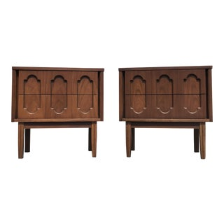Dixie Mid-Century Walnut Nightstands - A Pair