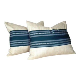 Blue & White Japanese Silk Obi Striped Pillow Covers - A Pair