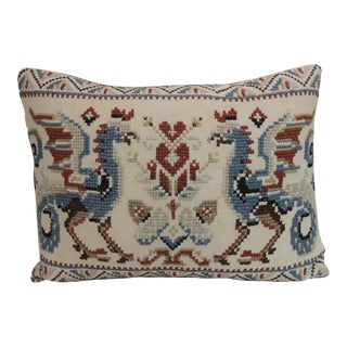 Antique Cross-Stitched Tapestry Decorative Bolster Pillow.
