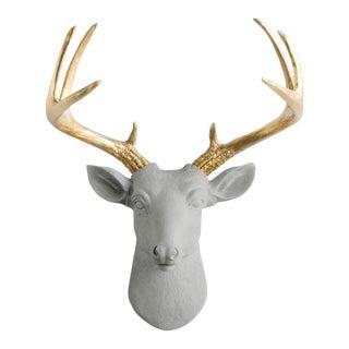Wall Charmers Gray & Gold Faux Taxidermy Mini Deer Head Mount