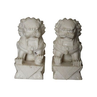 Vintage Ivory Stone Foo Dogs - A Pair