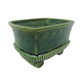 Vintage 1950s Grecian-Style Green Glazed Planter