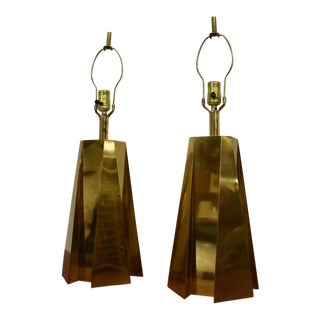 Pyramid Brass Table Lamps- A Pair