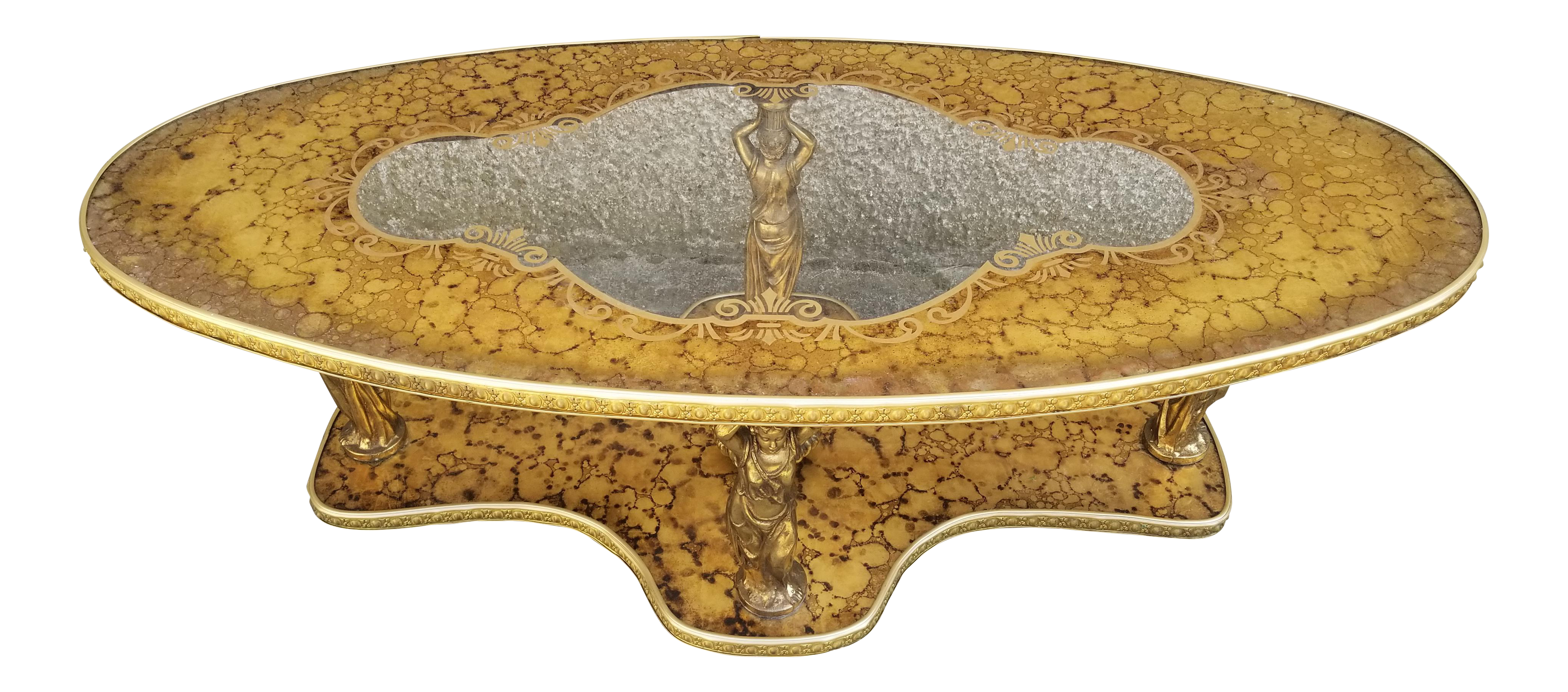 hollywood regency victorian modern statue ornate gold glass coffee table