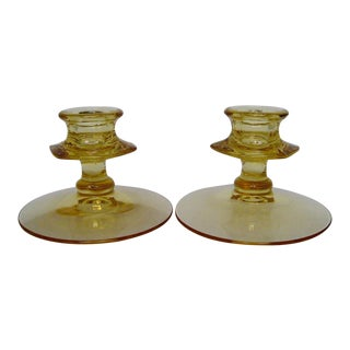 Yellow Glass Candlesticks - A Pair