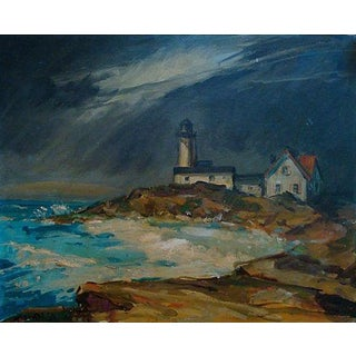 1960 Dramatic Lighthouse Seascape Oil Painting