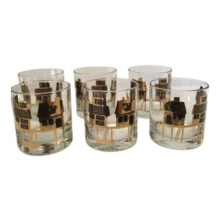 Couroc Mid-Century Fishing Village Glasses- Set of 6