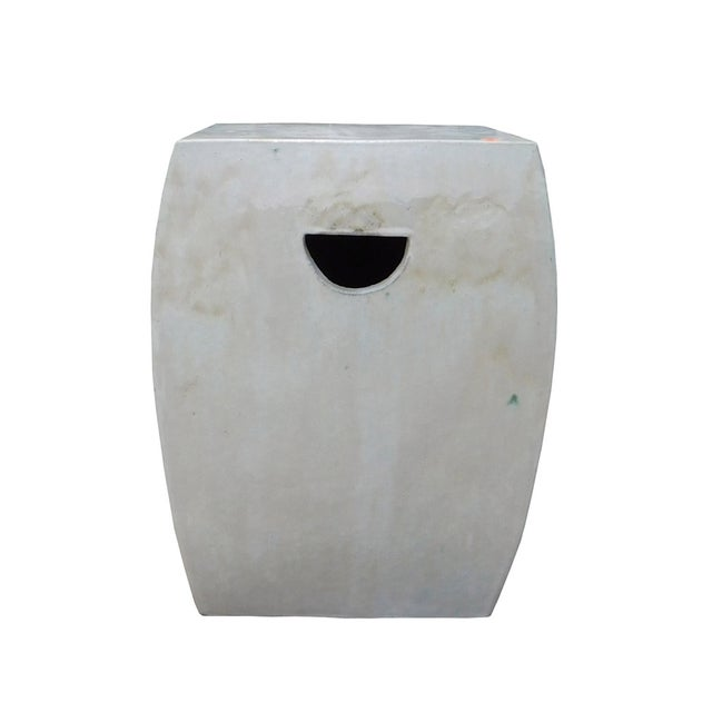 Chinese Off White Square Clay Ceramic Garden Stool - Image 2 of 7