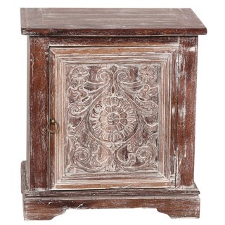 Floral Whitewashed Cabinet