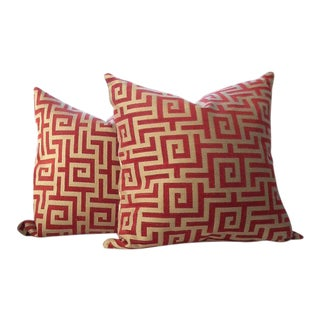 Clarence House Pillows in Red & Gold Geometric Woven Greek Key Pattern - a Pair