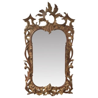 Chippendale Style Carved Pine Wall Mirror