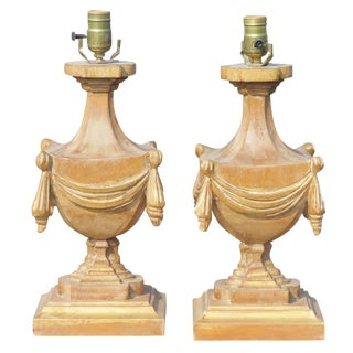 Carved Urn Table Lamps - a Pair