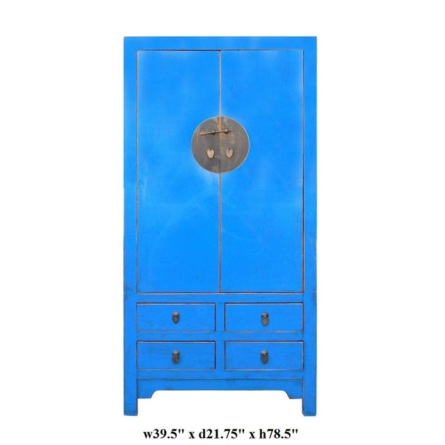 Tall Chinese Armorie in Rustic Blue - Image 6 of 6