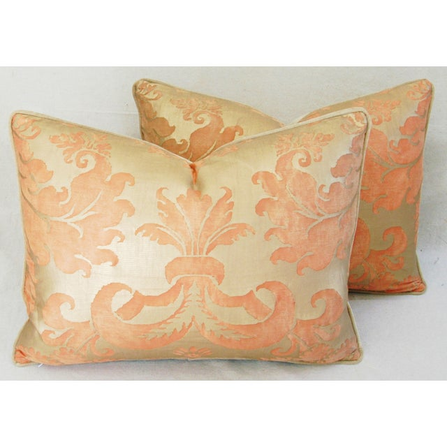 Italian Fortuny Glicine Gold Pillows - Pair - Image 2 of 11