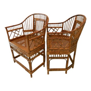 Vintage Brighton Pavilion-Style Bamboo Chairs - A Pair