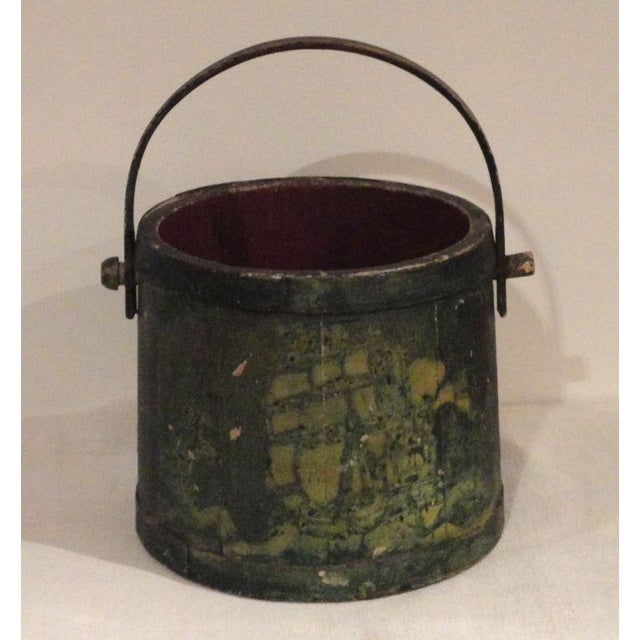 19th Century Nautical Original Painted and Decorated Water Bucket from NE - Image 2 of 8
