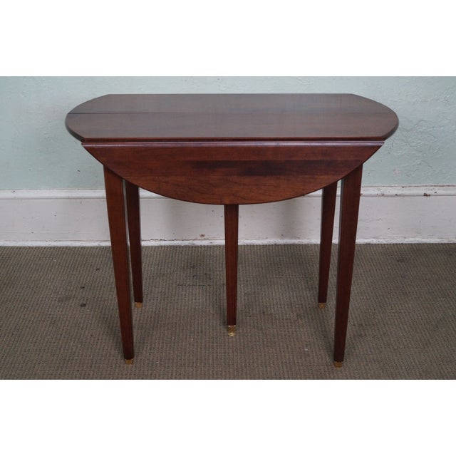 Solid cherry drop leaf extension dining table w 4 leaves for Drop leaf extension table