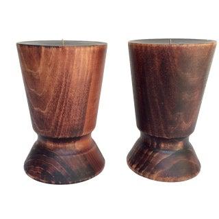 Danish Turned Wood Candleholders - a Pair