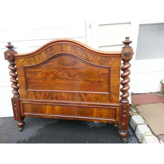Antique Burled Walnut Spindle Full Bed Frame - Image 2 of 4