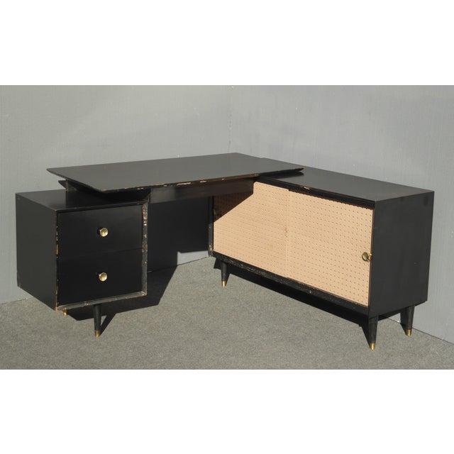 Mid Century Modern Black L Shaped Writing Desk Chairish