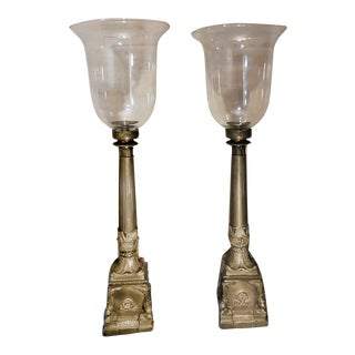 "Antique 36"" Bronze Brass Church Altar Candle Holders - A Pair"
