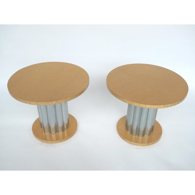 Deco Style Round Chrome & Sycamore Side Tables - A Pair - Image 2 of 10